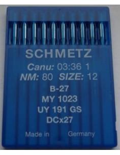 Symaskinsnål Rundkolvsnål B27 Size 80 Schmetz