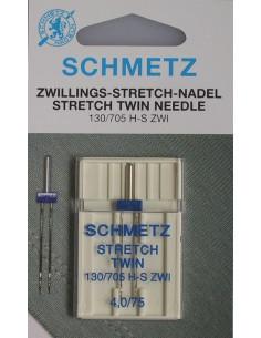Tvillingnål Stretch 4,0/75 1-pack Blå Schmetz
