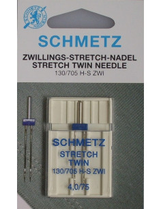 Tvillingnål Stretch130/75 1-pack Blå Schmetz