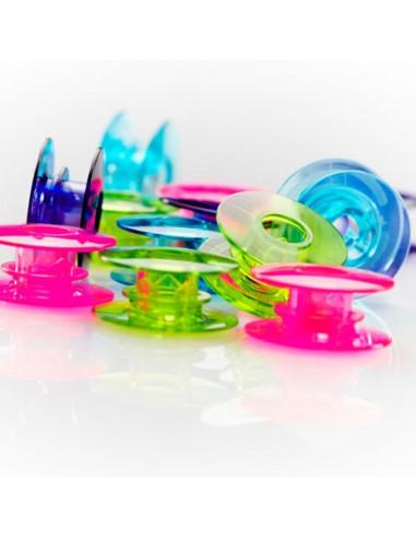 Plastic bobbins 20-pack watercolored J
