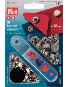Tryckknappar Anorak 12mm silver