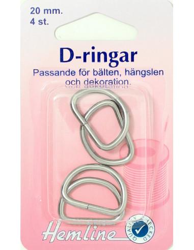 D-ring förnicklad 20mm 4st