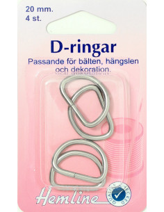 D-ring förnicklad 20mm 4st