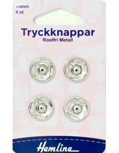 Tryckknappar 15mm rostfri metall 4-pack