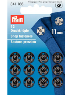 Tryckknappar 11mm Svart