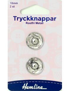 Tryckknapp 18mm Rostfri metall 2-pack